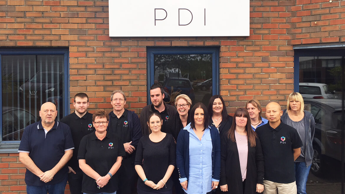 The PDI Team outside of their Basingstoke Office